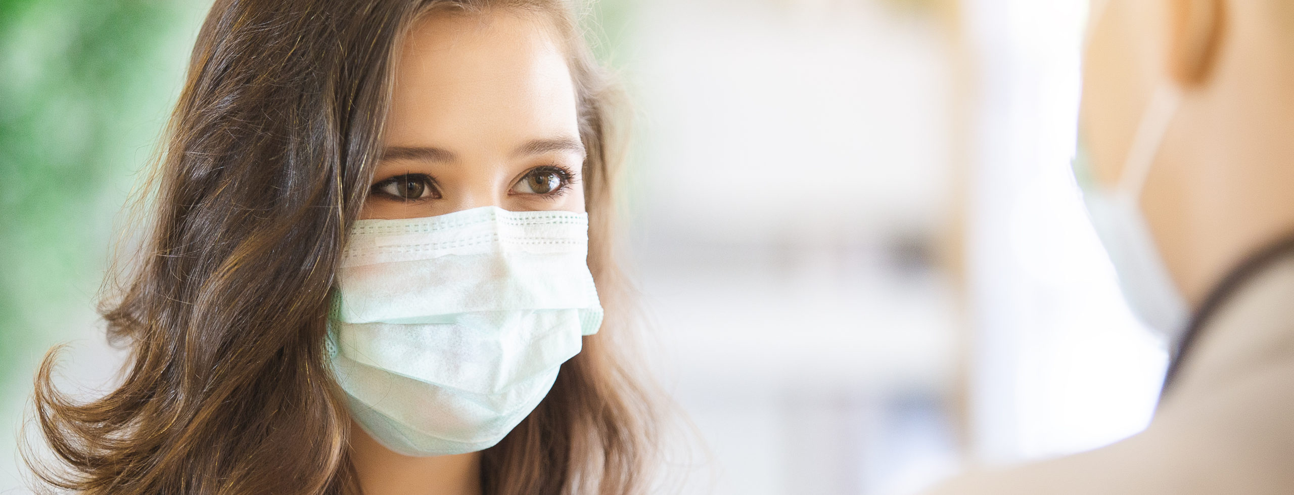 close up face woman wearing medical mask for prevent dust and infection virus.